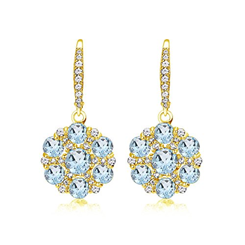 Yellow Gold Flashed Sterling Silver Blue and White Topaz Flower Dangle Leverback Earrings