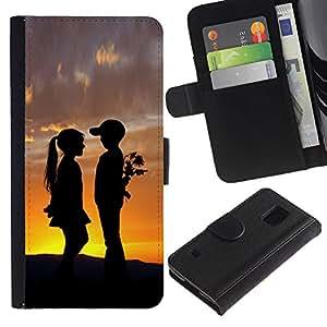 [Neutron-Star] Modelo colorido cuero de la carpeta del tirón del caso cubierta piel Holster Funda protecció Para Samsung Galaxy S5 V SM-G900 [Boy & Girl Sunset Romance Kiss]