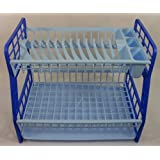 Plastic Dish Drainer Sink Cutlery Rack Holder Plates Tray Rack Blue 2 Tier New by New Mark