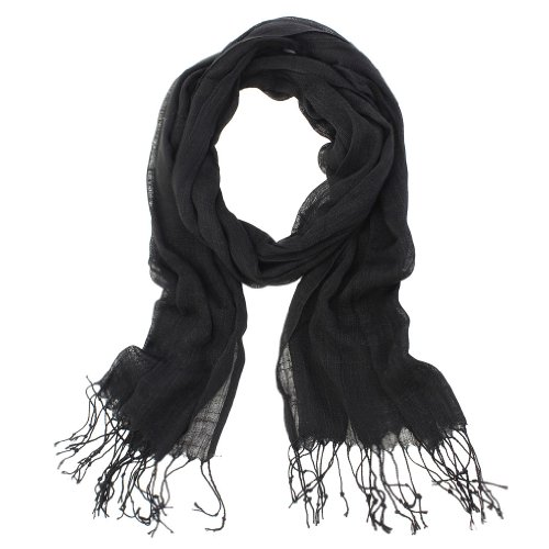 Summer Color 100% Natural Linen Scarf (Black Linen Scarf)