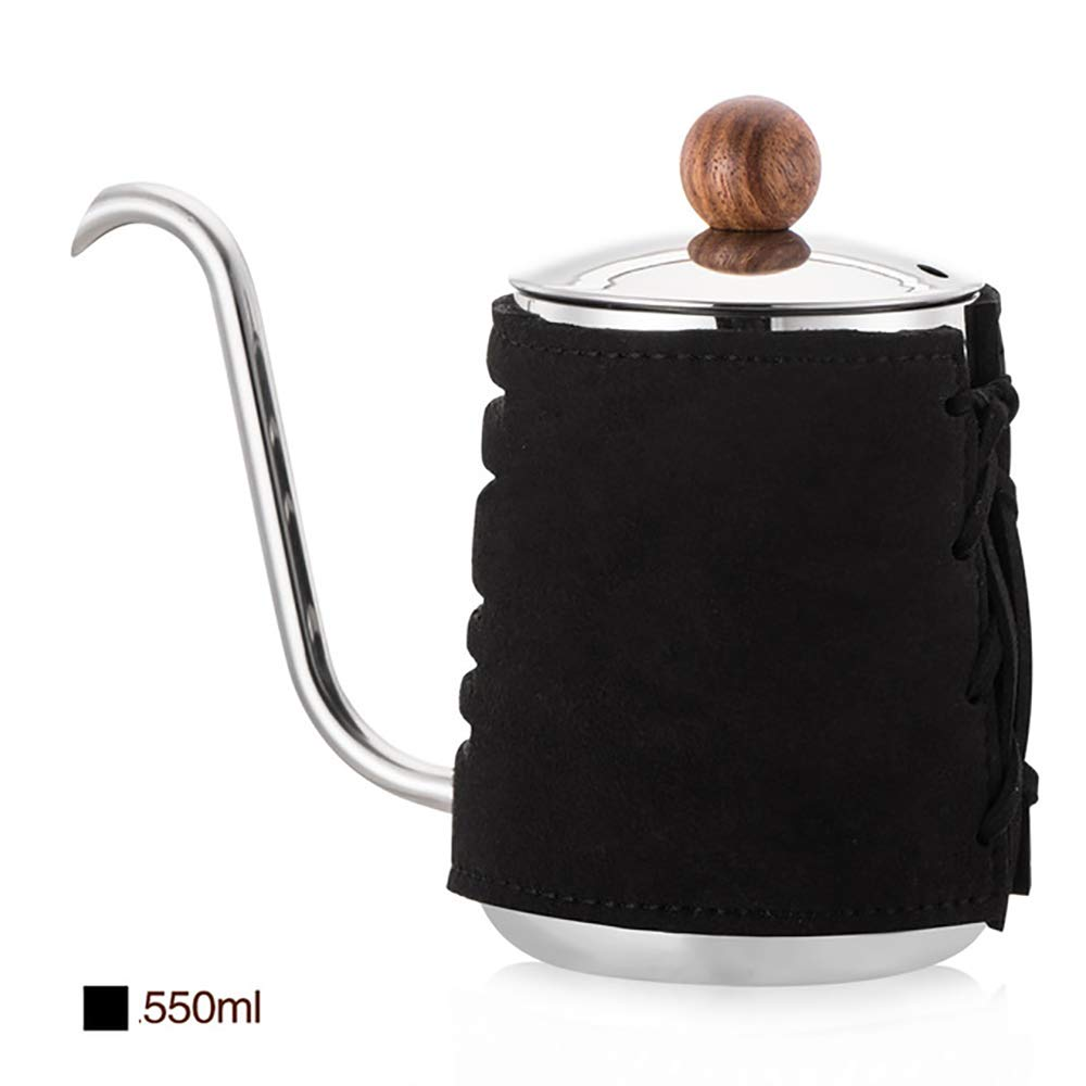 SULIVES - Pour Over Coffee/Tea Maker Handleless Hand Kettles Small Mouth Kettles Hanging Ears Coffee Pot Long Mouth Pot Stainless Steel Mini Coffee Kettles - Black - 350ML