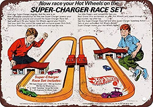 (ADILH Hot Wheels Super-Charger Racing Set Pub Home Decor Metal Tin Sign 8X12 Inches)