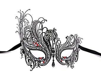 Luxury Mask Women's Swan Metal Filigree Laser Cut Venetian Masquerade Mask