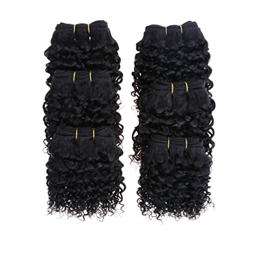 Emmet 7A Afro Kinky Curly Hair Weaves 6pcs/lot 300g 50g/pc Brazilian Human Hair Extensions, with Hair Care Ebook (1B#)