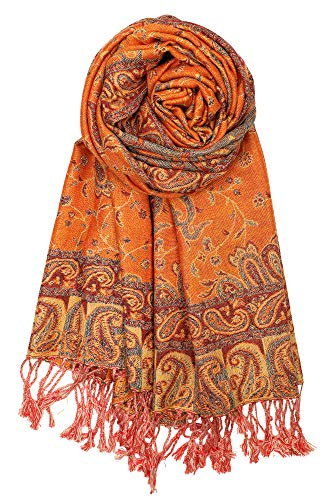 "Achillea Soft Silky Reversible Paisley Pashmina Shawl Wrap Scarf w/Fringes 80"" x 28"" (Orange)"