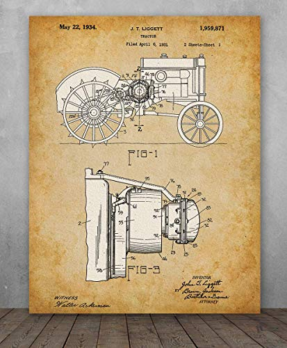 Poster - John Deere Tractor Patent - Choose Unframed Poster or Canvas - Makes a Great Gift for Farmers and Country Decor ()