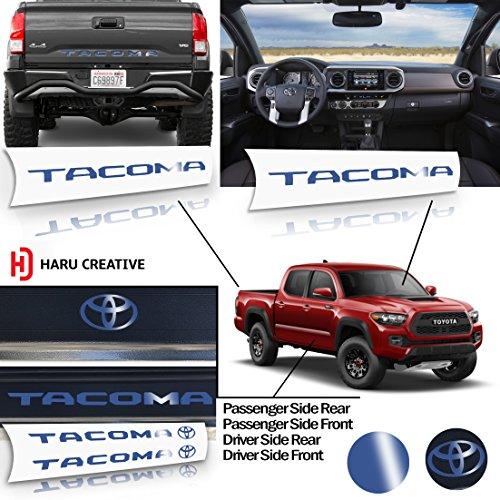 Haru Creative - Toyota Tacoma 2016 2017 2018 FULL DECAL SET - Rear Tailgate - Glove Box Dashboard - Door Sill Protector Overlay Insert Decal - Gloss (Blue Dash Overlay)