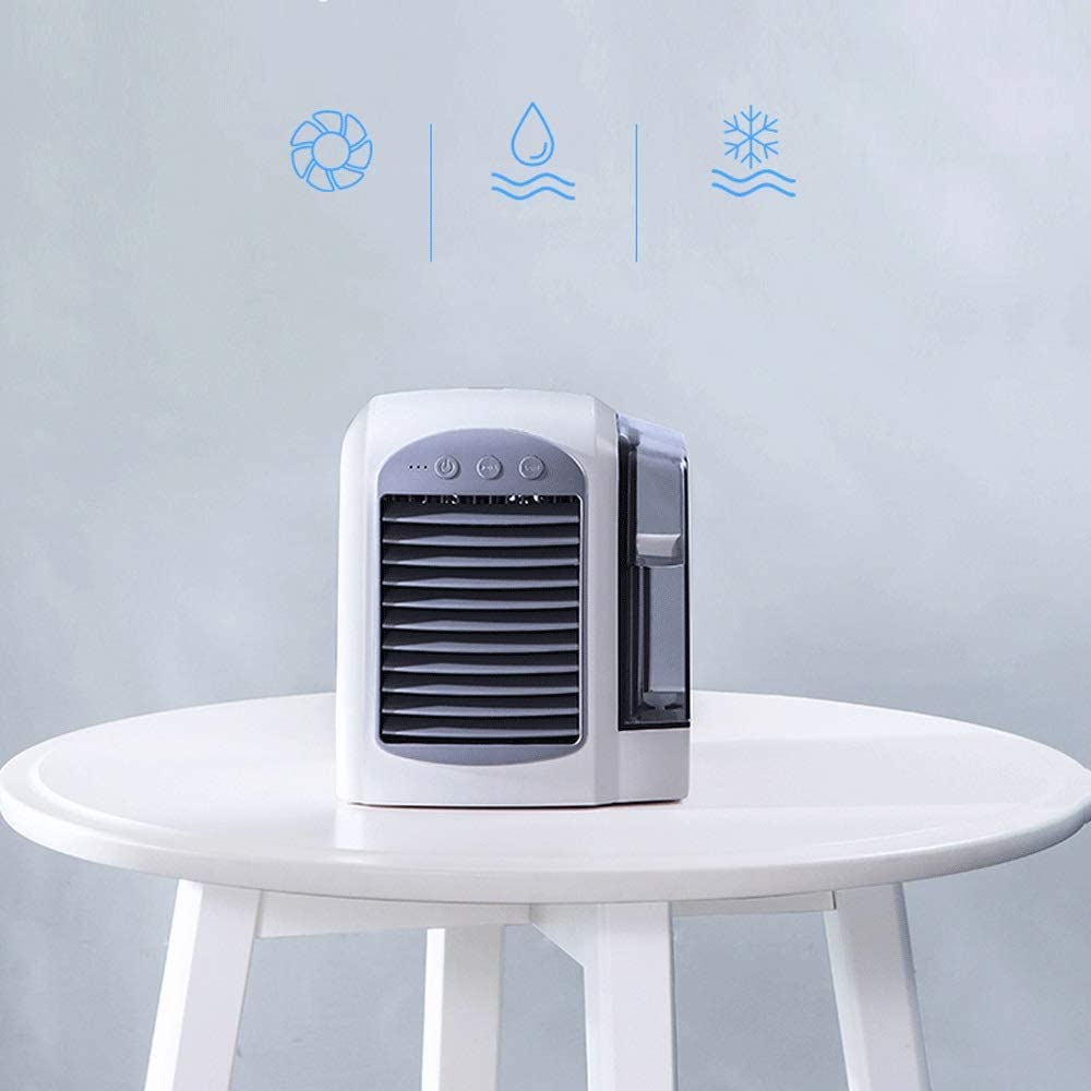 3-speed Refrigeration Portable Usb Fan Dormitory Bed Desktop Small Household Car Mini Table Fan Mini Air Conditioner Cooling Micro Water Cooling Humidified Silent Air Cooler Color : Blue