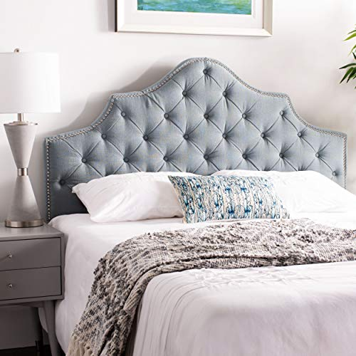 - Safavieh Arebelle Sky Blue Upholstered Tufted Headboard - Silver Nailhead (Queen)