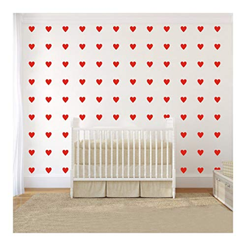 2 inch x100 Pieces DIY Heart Wall Decal Vinyl Sticker for Baby Kids Children Boy Girl Bedroom Decor Removable Nursery Decoration (Red) ()