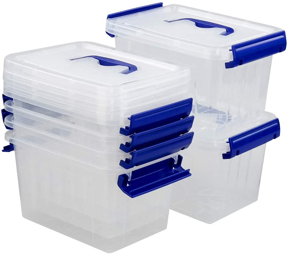 Xowine 3 L Clear Small Plastic Storage Latch Boxes, 6-Pack