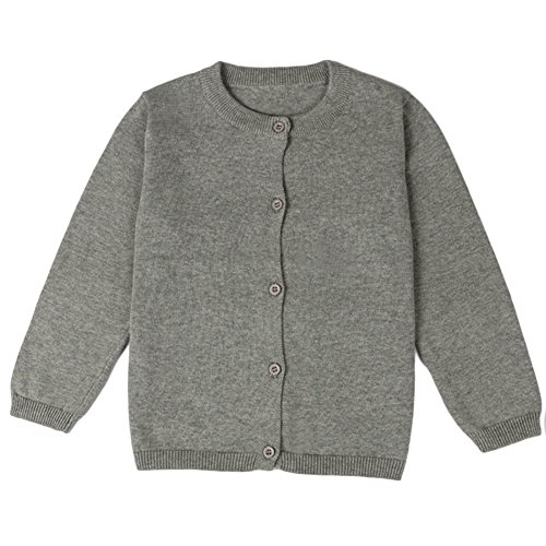 Comfybaby Little Girls Basic Crew Neck Solid Fine Knit Cardigan Sweaters (Age(5T), Grey) (Basic Fine Knit)
