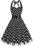 Summer Dresses, OTEN Women Vintage 1950's Floral Halter Neck Rockabilly Swing Dress Black Dots , XXX-Large