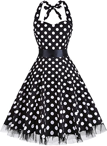 OTEN Women's Vintage Polka Dot Halter Dress 1950s Floral Sping Retro Rockabilly Cocktail Swing Tea Dresses]()
