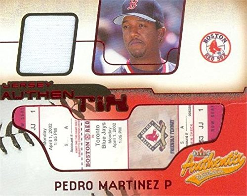 Pedro Martinez player worn jersey patch baseball card (Boston Red Sox) 2002 Fleer Authentix #JAPM