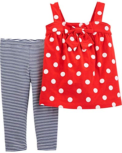 Carter's Baby Girls 2-Piece Polka Dot Top and Legging Set - Red (24 Months)