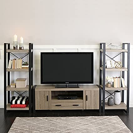 Amazon Com 60 Inch Urban Blend Ash Grey Tv Stand With Side