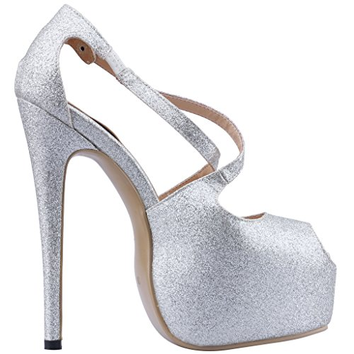 Calaier Mujer Cadifference Tacón De Aguja 16CM Sintético Elástico Sandalias de vestir Zapatos Plateado