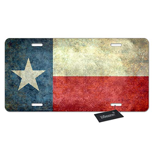 WONDERTIFY License Plate Texas State Flag American The Lone Star Flag of The Great Lone Star State Decorative Car Front License Plate,Vanity Tag,Metal Car Plate,Aluminum Novelty License Plate ()