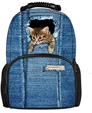 Showudesigns Printing 3D Animal Denim Cat Shool Backpack Teen Girls Book Bags