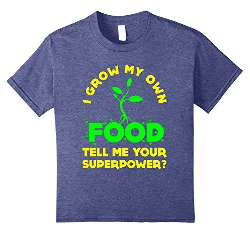 [Kids Funny I Grow My Own Food T-shirt Farmer Gardener Meme Quote 10 Heather Blue] (Farmers Daughter Halloween Costume)