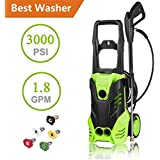 Hurbo 3000PSI 1.8GPM Electric High Pressure Washer Cleaner Machine with Power Hose Gun Turbo Wand 5 Interchangeable Nozzles