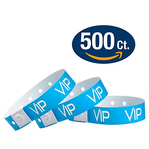 WristCo Neon Blue VIP Plastic Wristbands - 500 Pack Wristbands For Events