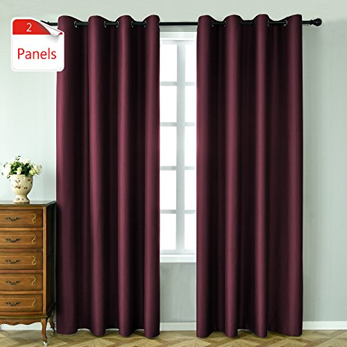 KEQIAOSUOCAI 2 Panels Wine Blackout Curtains 84 inches long for bedroom-Window Treatment Thermal ...