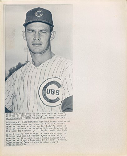 (Vintage Photos 1962 Photo Catcher Sammy Taylor Chicago Cubs Baseball Player Los Angeles Dodger )