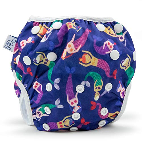 Large Nageuret Reusable Swim Diaper, Adjustable & Stylish Fits Diaper Sizes 4-6 (30-45lbs) Ultra Premium Quality for Eco-Friendly & Swimming Lessons (Anchors) (Lavender Mermaids)