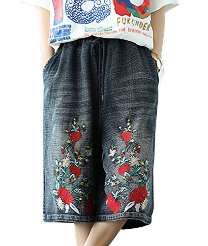 YESNO PBC Women Casual Loose Cropped Denim Pants Floral Wide Leg Jeans Shorts Floral Embroidery Elastic Waist Low Crotch Pockets