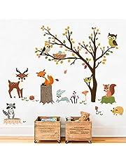decalmile Dieren Boom Muurstickers Uil Fox Herten Muurtattoo Baby Kinderkamer Kinderen Slaapkamer Woonkamer Wanddecoratie