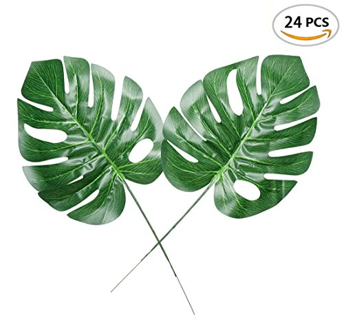 Fake Faux Artificial Tropical Palm Leaves for Home Kitchen Party Decorations or Handcrafts 24 Counts by ZXSWEET