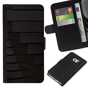 NEECELL GIFT forCITY // Billetera de cuero Caso Cubierta de protección Carcasa / Leather Wallet Case for Samsung Galaxy S6 EDGE // LÍNEAS Geometría abstracta