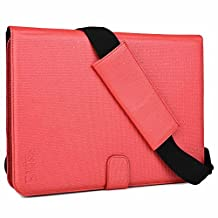 """Asus Transformer Pad TF502 / TF701T / LTE TF303CL case, COOPER MAGIC CARRY II PRO Shoulder Strap Travel Rugged Shock Proof Universal Tablet Cover Folio w. Handle & Stand for 9"""" 9.7"""" 10"""" 10.1"""" (Red)"""