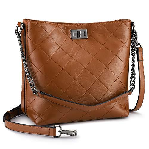 S-ZONE Women Crossbody Shoulder Bag Leather Bucket Bag Hobo Handbag Tote Bag Purse(Brown)