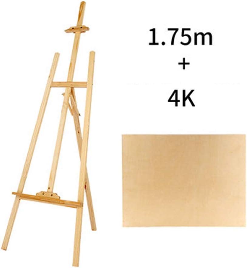 HYYSH 1.75 metros Conjunto de tablero de dibujo de caballete de boceto de madera Tipo de soporte Soporte de exhibición de pintura multifuncional Principiante Adulto Marco de pintura al óleo plegable d: