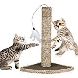 "Mimibox Cats Toy - Cat Scratching Post Natural Seagrass 19"" with Feather Toy and broad base Dia 3.15"" Interactive Playing Training Scratchers Pet Toys for Cats Kittens"