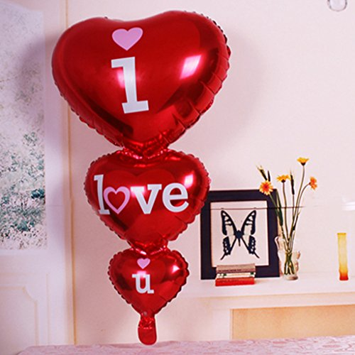 Oranmay I Love YOU Letter Foil Balloon Heart Shape Birthday Wedding Anniversary Helium Decor (Red)