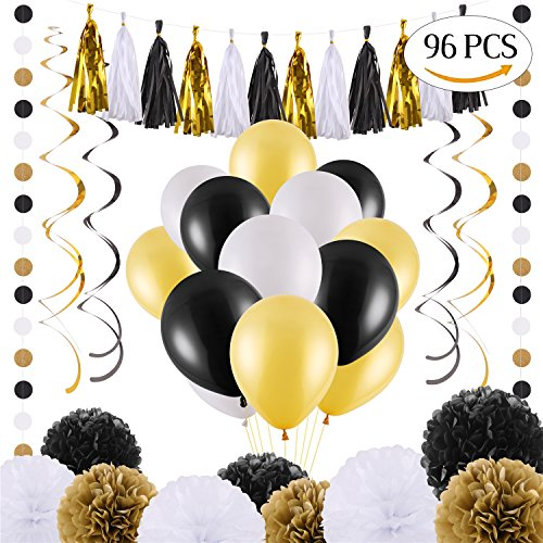 VEYLIN 96 PCS Black Gold and White Party Decorations with Balloons Tissue Tassel Swirl Hanging Garland Paper Pom Pom for any Birthday Party or Wedding - Haven Tissue