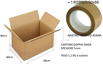 4 cajas de cartón de 60 x 40 x 40 cm con 1 cinta adhesiva habana ...