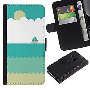 Planetar® Modelo colorido cuero carpeta tirón caso cubierta piel Holster Funda protección Para Samsung Galaxy S3 MINI / i8190 (Not For S3) ( Sand Velero Verano Beach Sun)