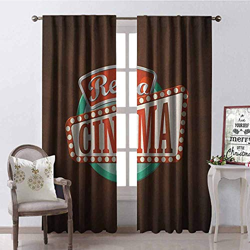 Gloria Johnson Movie Theater 99% Blackout Curtains Retro Style Cinema Sign Design Film Festival Hollywood Theme for Bedroom- Kindergarten- Living Room W100 x L84 Inch Brown Turquoise Vermilion -