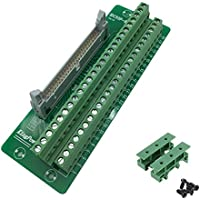 Sysly IDC50 2x25 Pins Male Header Breakout Board Terminal Block Connector with Simple DIN Rail Mounting feet