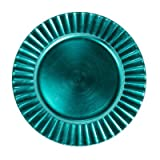 13'' Fluted Charger Plate (Set of 4) Color: Turquoise