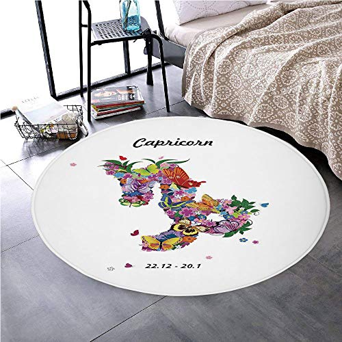 Memory Foam Round Area Rug Floor Kitchen Carpet, Zodiac Capricorn, Composition of Blossoming Spring Flowers with Foliage and Butterflies, Multicolor, Soft Flannel Non-Slip Absorbent Mat