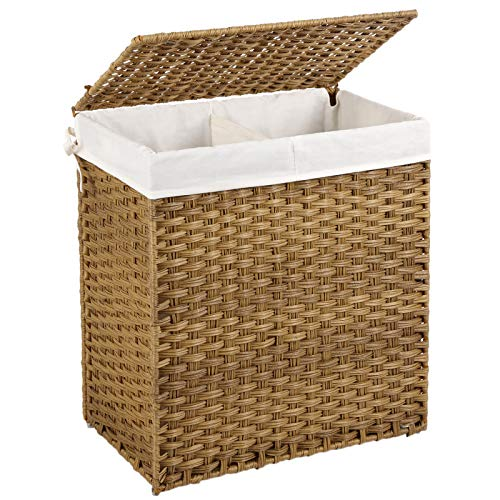 SONGMICS Handwoven Laundry Basket with Lid, 110L Synthetic Rattan Divided Clothes Hamper with Handles, Foldable, 2 Sections Removable Liner Bag, Stable Iron Frame, Natural ULCB52NL (Basket Laundry Grey Rattan)