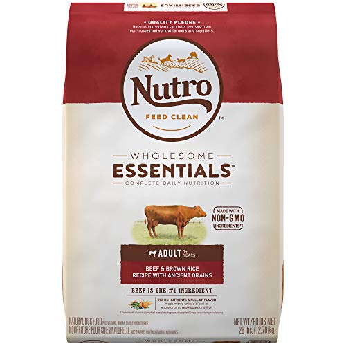 Beef Rice Brown - NUTRO WHOLESOME ESSENTIALS Natural Adult Dry Dog Food Beef & Brown Rice Recipe With Ancient Grains, 28 lb. Bag