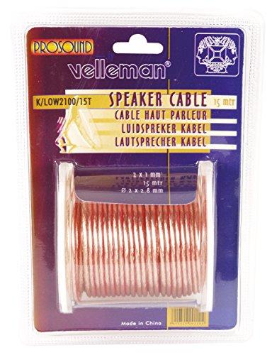 Velleman K/LOW2100/15T Loudspeaker Wire Transparent, Multi-Colour, 2 x 1 mm²/15 m