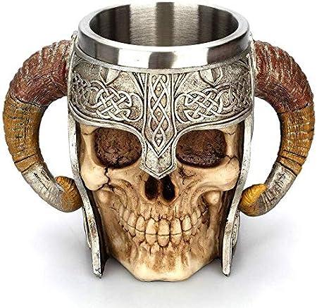 Copas de vino Taza del cráneo del cóctel de acero inoxidable de Viking de cuernos del espolón Pit Señor Guerrero cerveza Stein jarra de cerveza taza de café taza de té de Halloween Drinkware de la bar